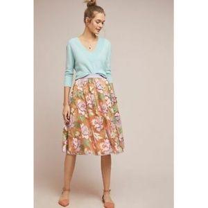 Anthropologie Pixilated Tulle Midi Skirt